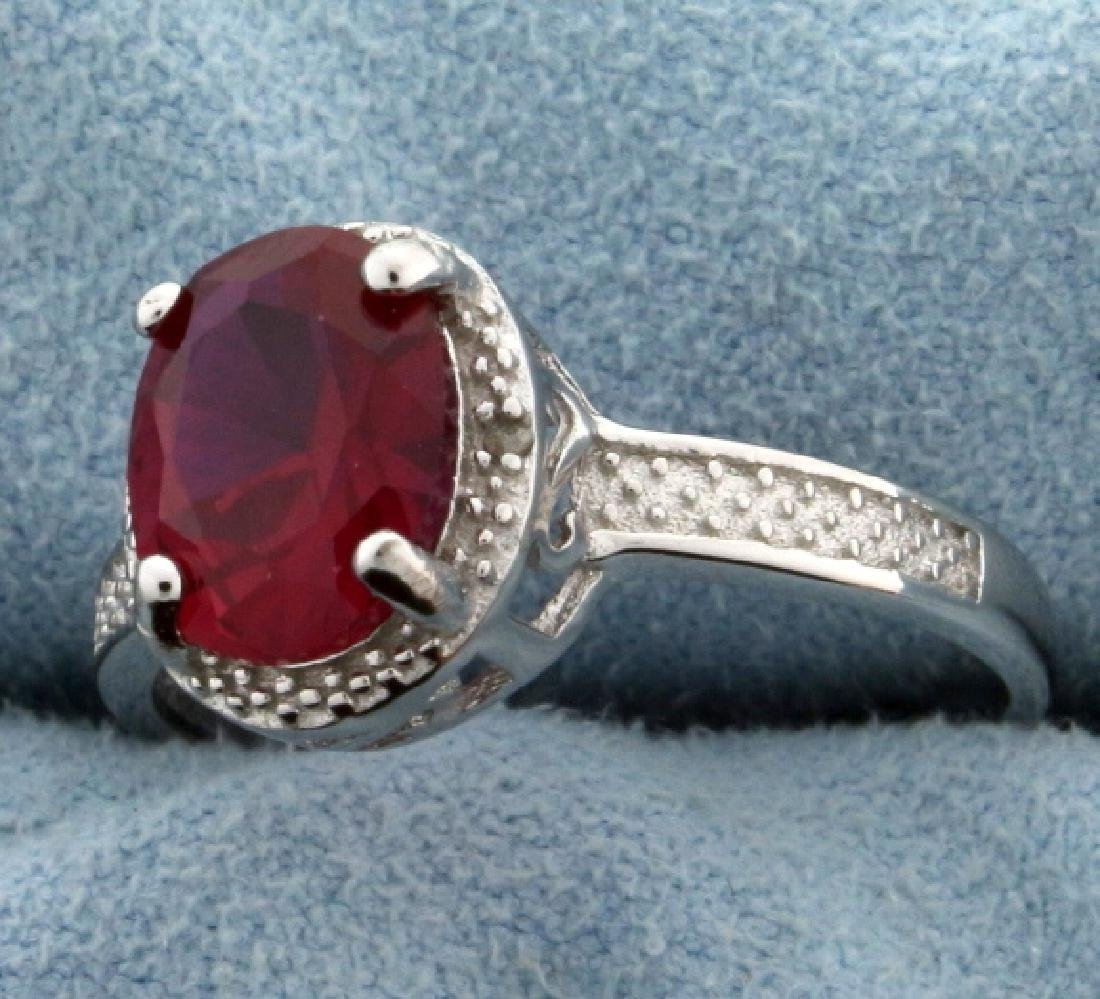 Lab Ruby Oval Cut 7x9MM and Diamond Ring Vintage Style - 2