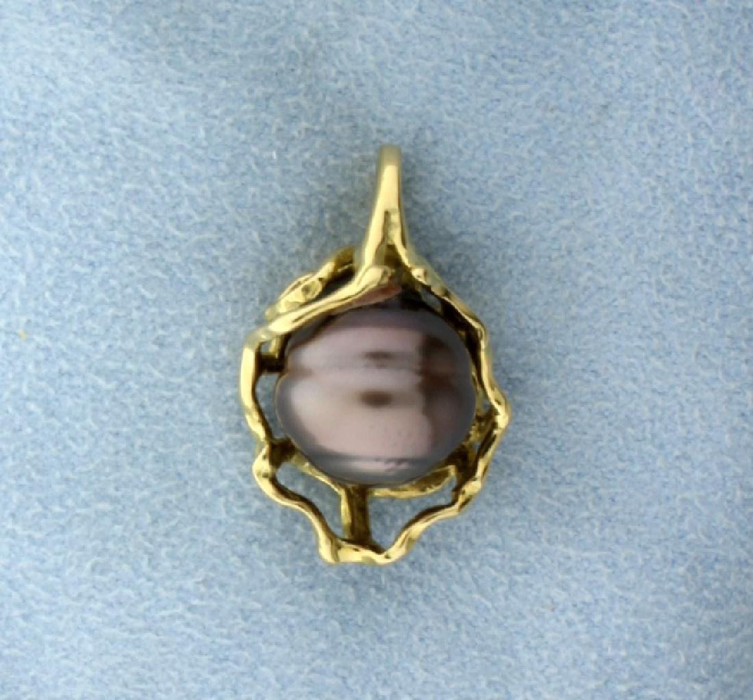 18K Yellow Gold Silver Pearl Pendant