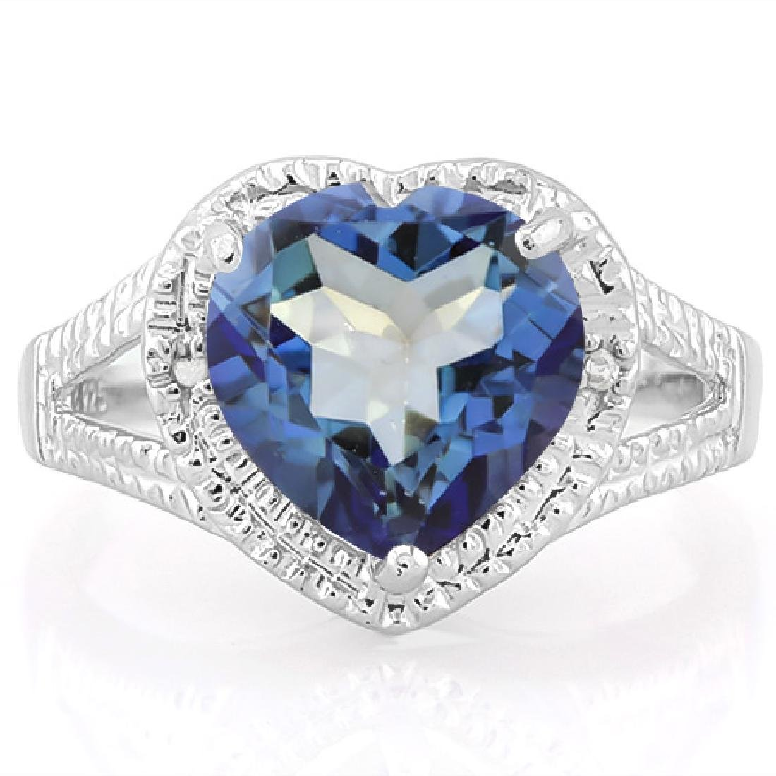 Heart Cut 5CT Violet Mystic Topaz and Diamond Ring in