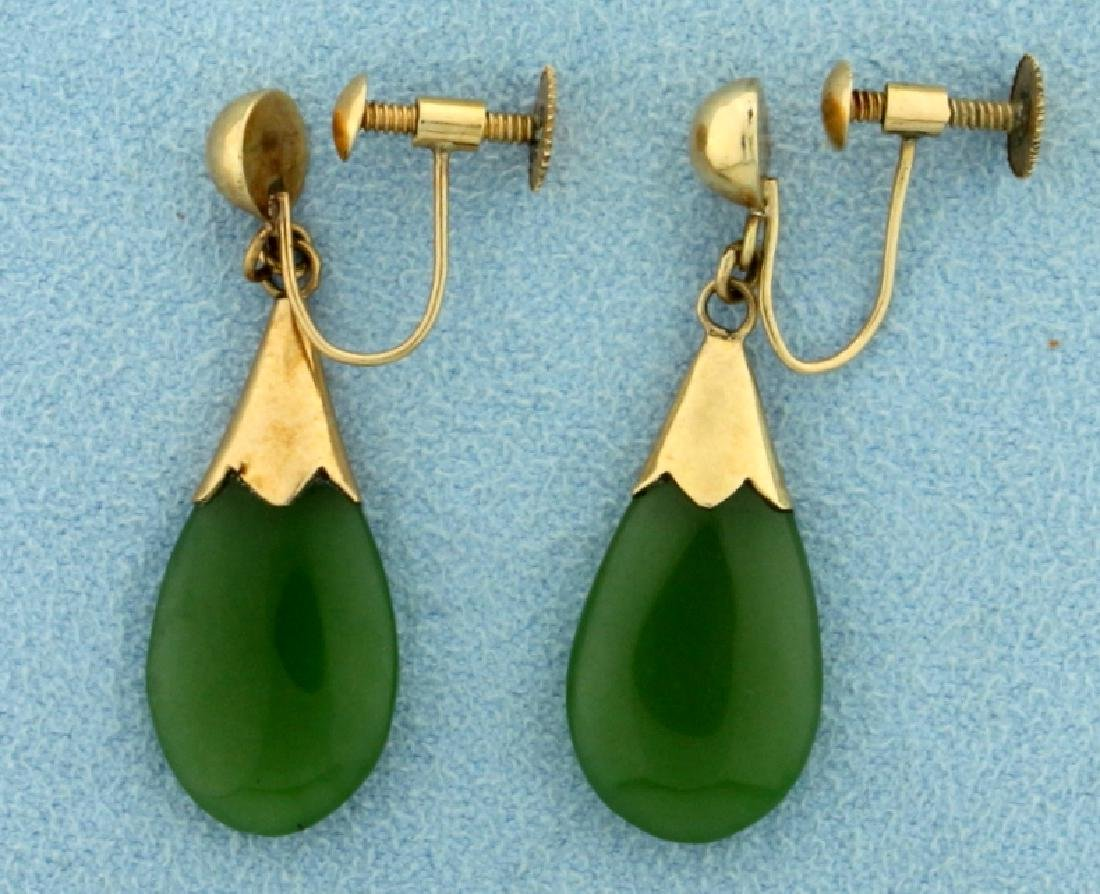 Jade Dangle Screwback Earrings