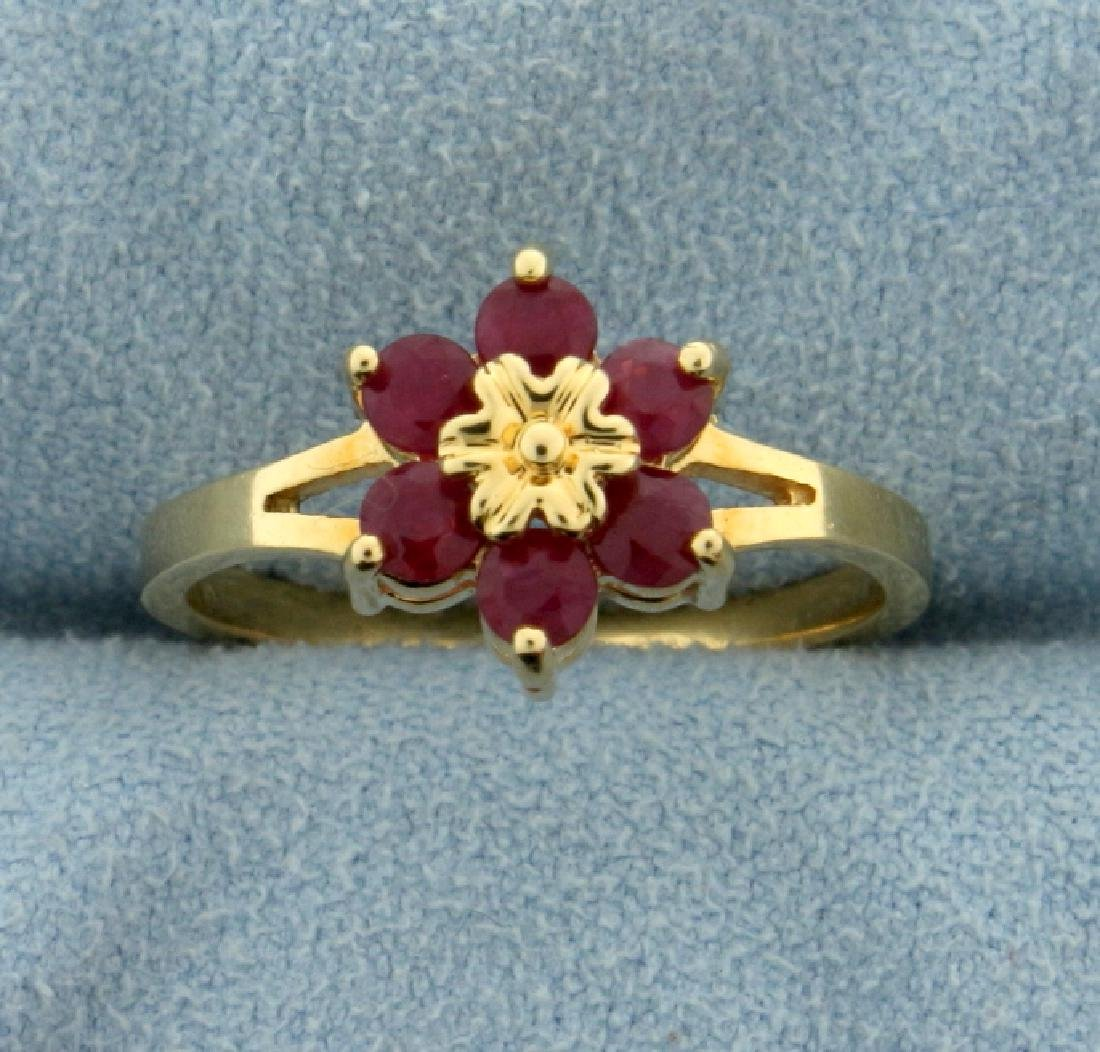 Natural Ruby Flower Ring