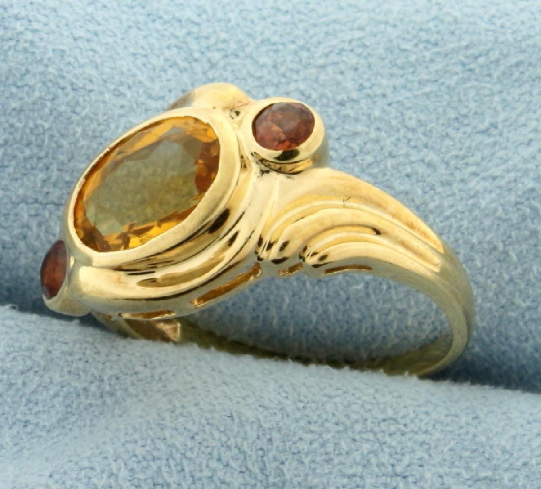 Citrine and Garnet Ring - 2
