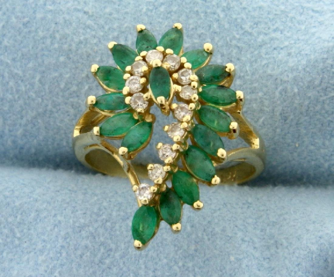 2 Ct TW Emerald and Diamond Cocktail Ring in 14k Gold