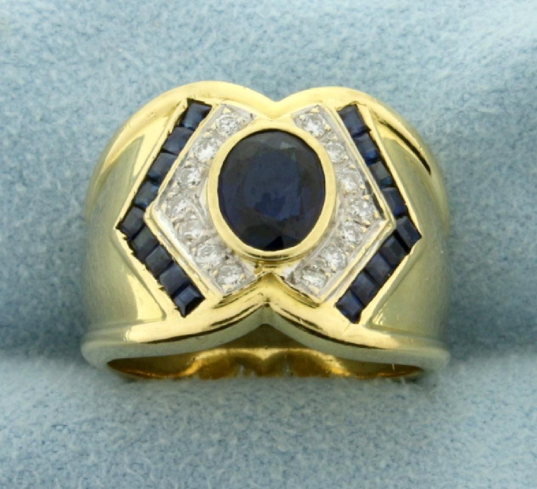 Natural Sapphire and Diamond Ring in 18k Gold
