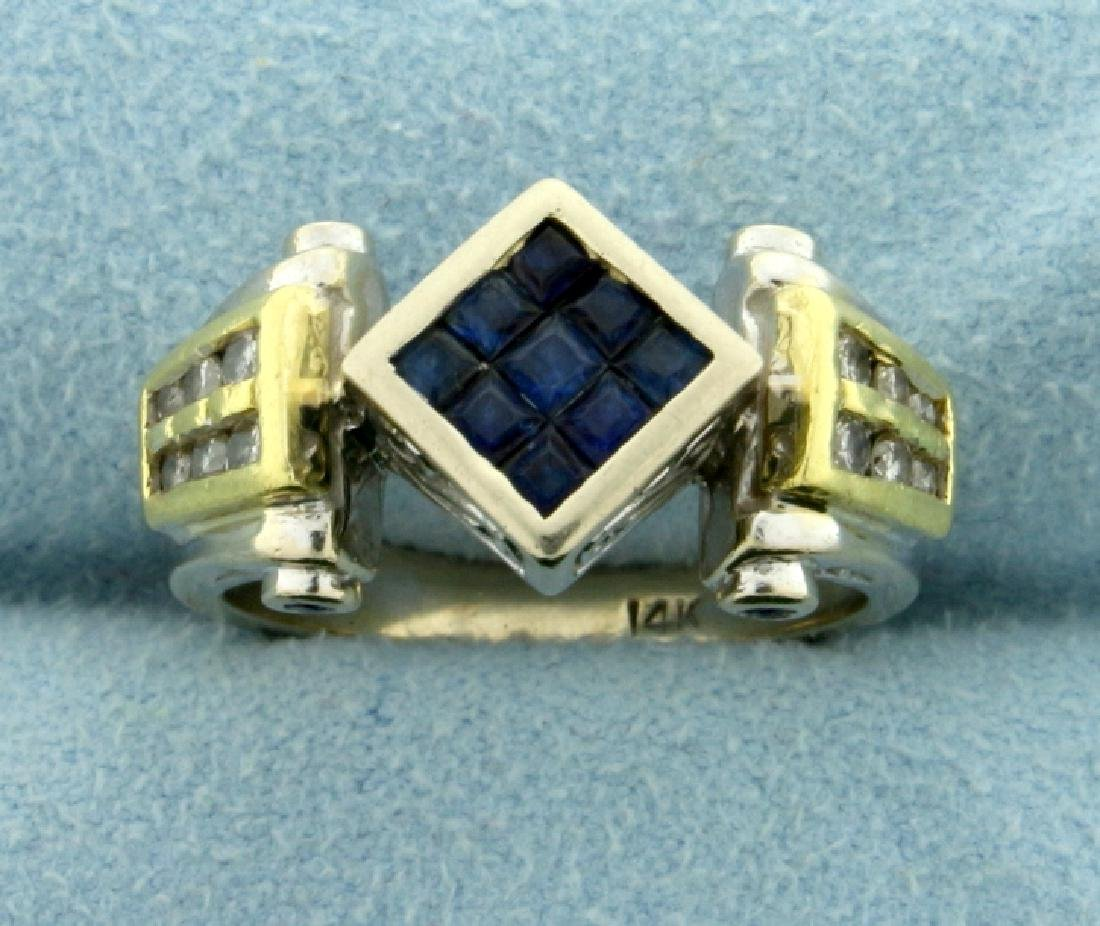 Hand Crafted Custom Designed Sapphire and Diamond Ring