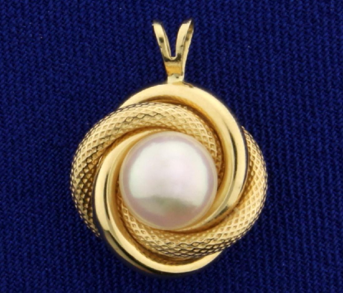 Akoya Pearl Pendant in 14K Yellow Gold