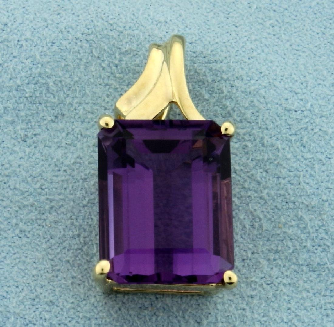 Over 10ct Emerald Cut Natural Amethyst Pendant in 10K