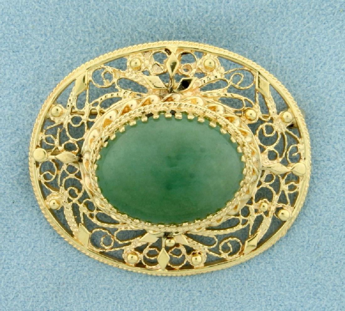 15ct Jade Pendant or Pin in 14K Yellow Gold