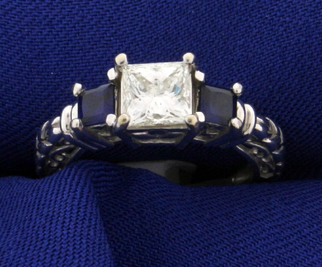 "1 carat Princess cut ""Leo"" Diamond ring with Sapphires"