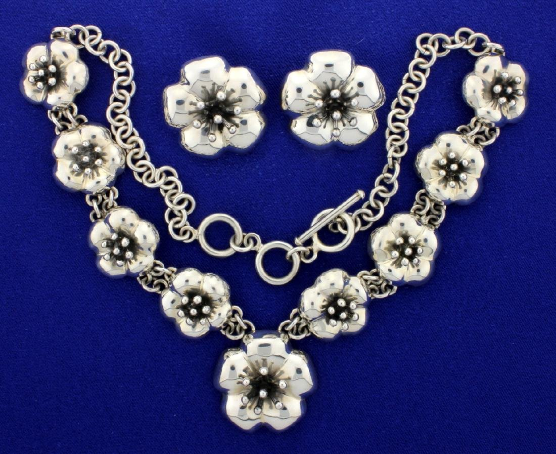 Designer Heavy Sterling Silver Necklace and Earrings