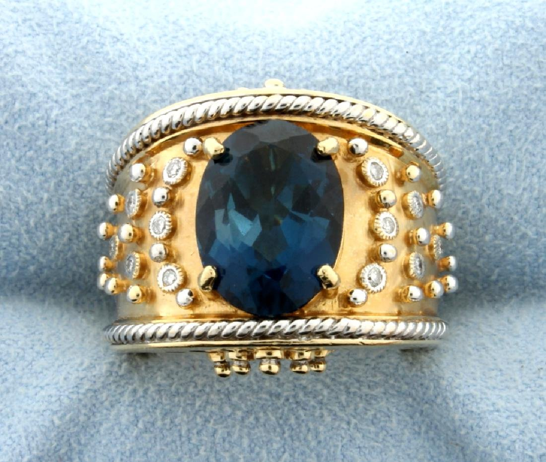 Designer Dallas Prince London Blue Topaz and Diamond