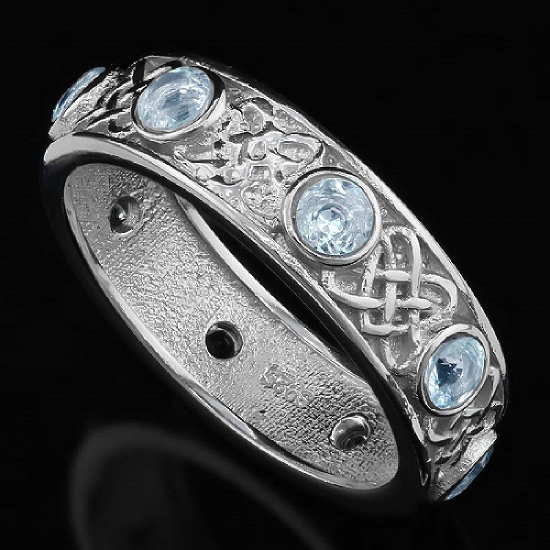 Aquamarine Vintage Style Eternity Band Ring in Sterling