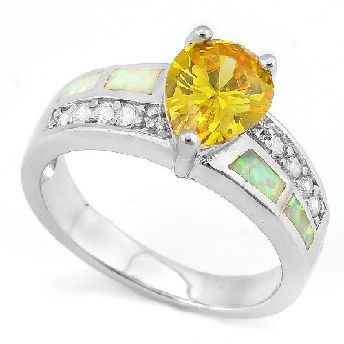 Pear Cut 3ct Lab Yellow Sapphire Ring with Fire Opal in
