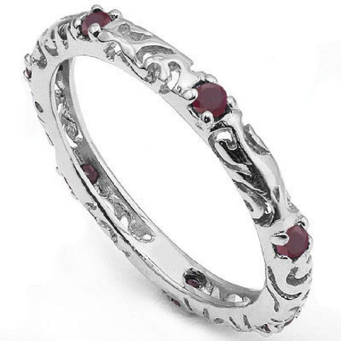 Genuine Rubies set in Platinum over Sterling Silver