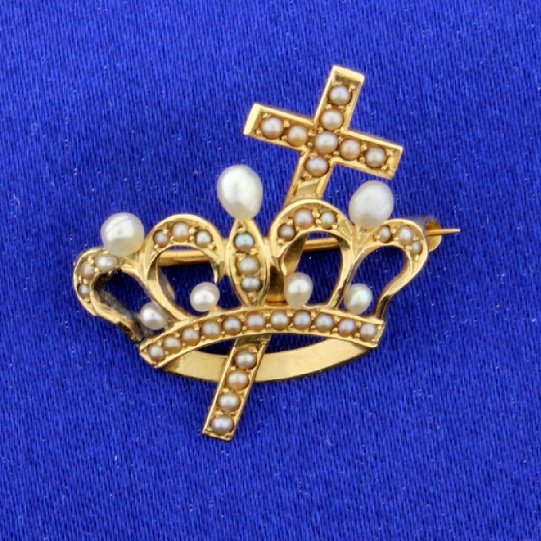 Vintage Crown/Cross Pin