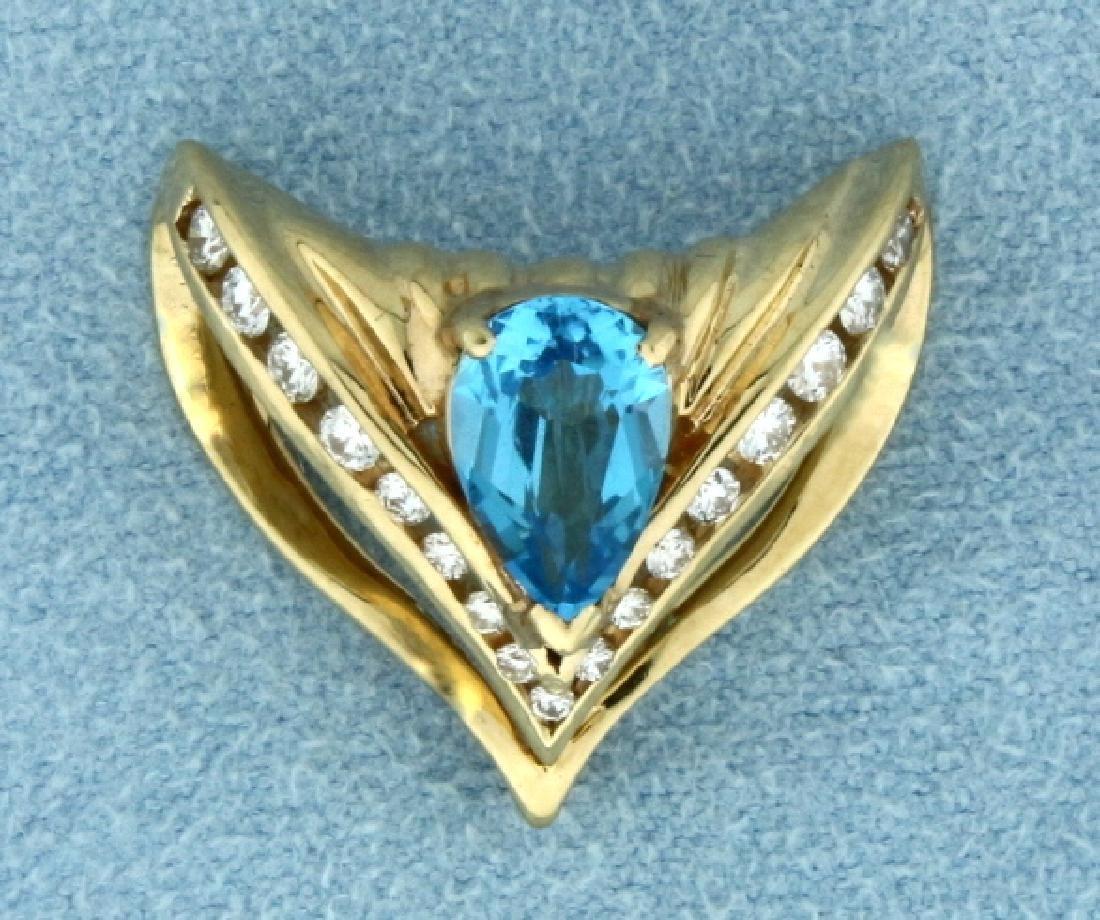 Blue Topaz and 1/2 ct TW Diamond Slide for Omega or