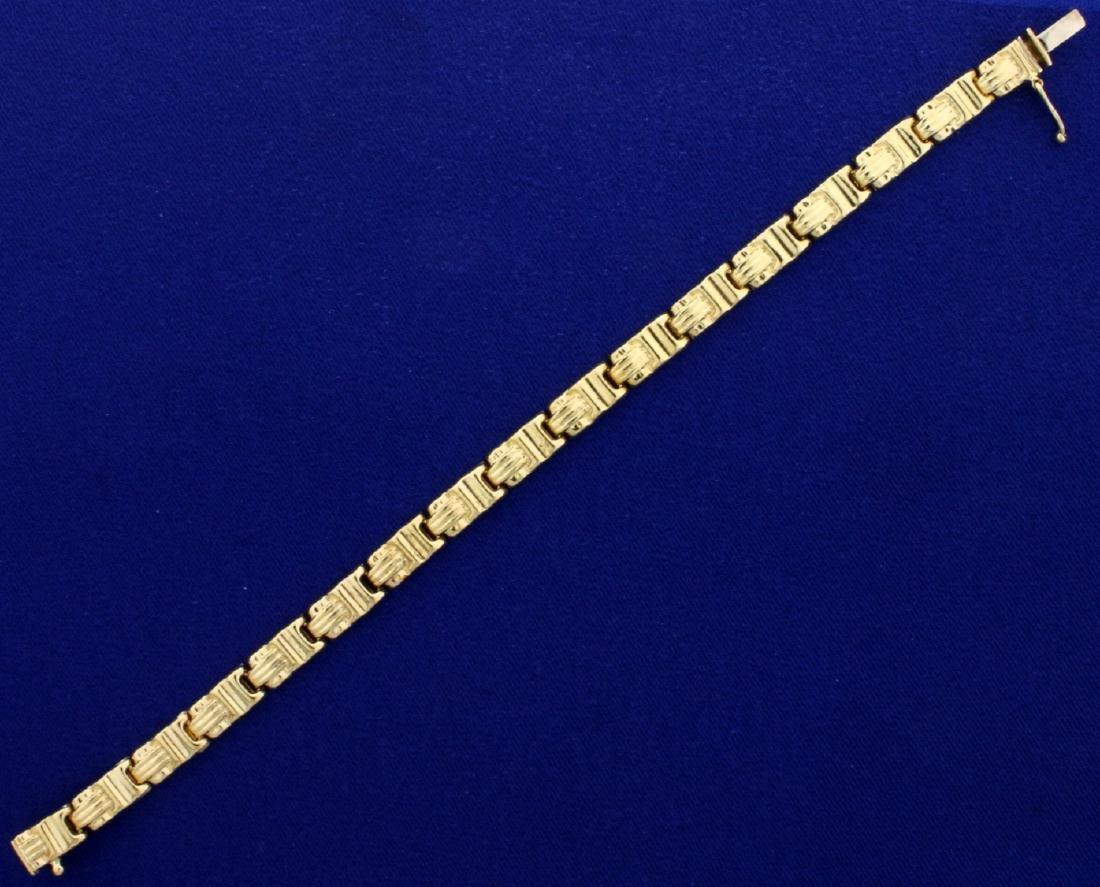 14k Yellow Gold Designer Link Bracelet