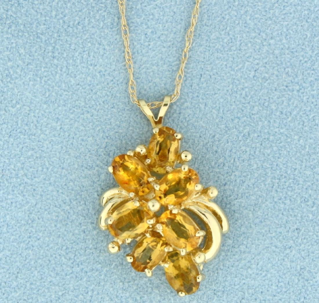 Natural Citrine Pendant with 14k Gold Chain