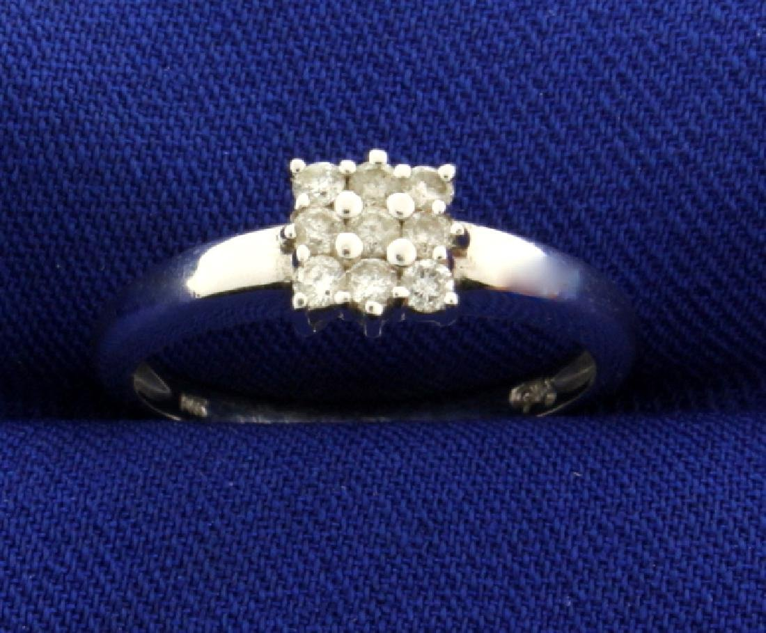 Nine Diamond Ring in 14k White Gold