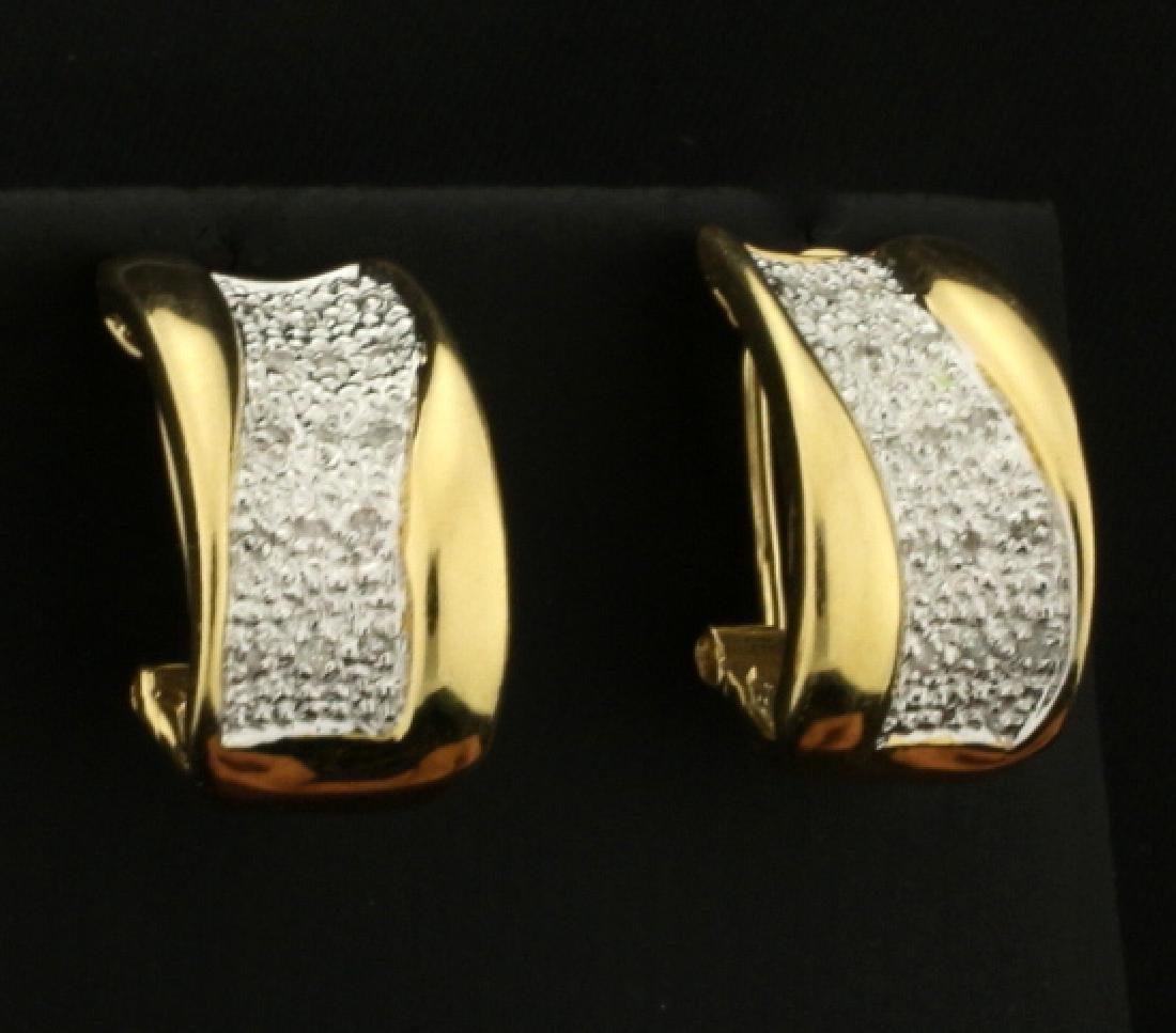 Diamond Designer Half Hoop Earrings in 14k Yellow and