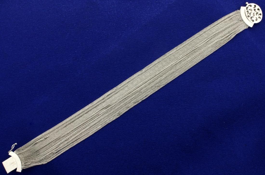 18K White Gold Italian Made Multi-Strand Curb Link