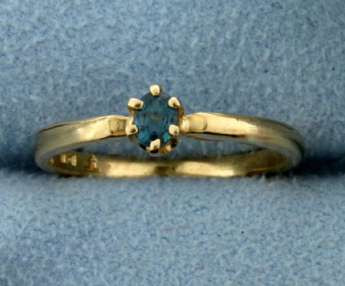 Color Changing Alexandrite Solitaire Ring in 14K Yellow