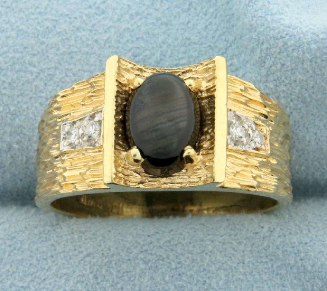 Men's Black Star Sapphire and Diamond Ring in 14K