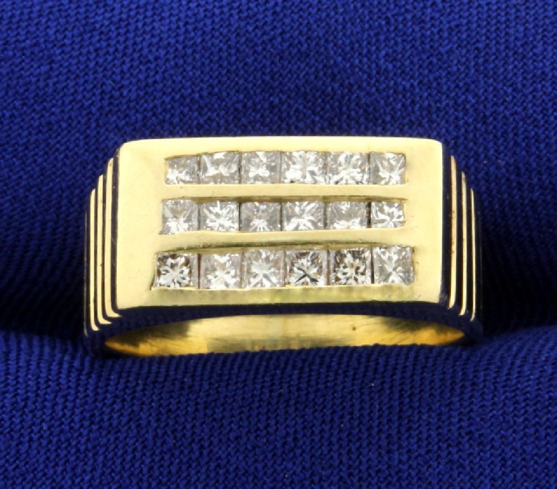 Over 1ct TW Princess Cut Diamond Ring in 14K Yellow