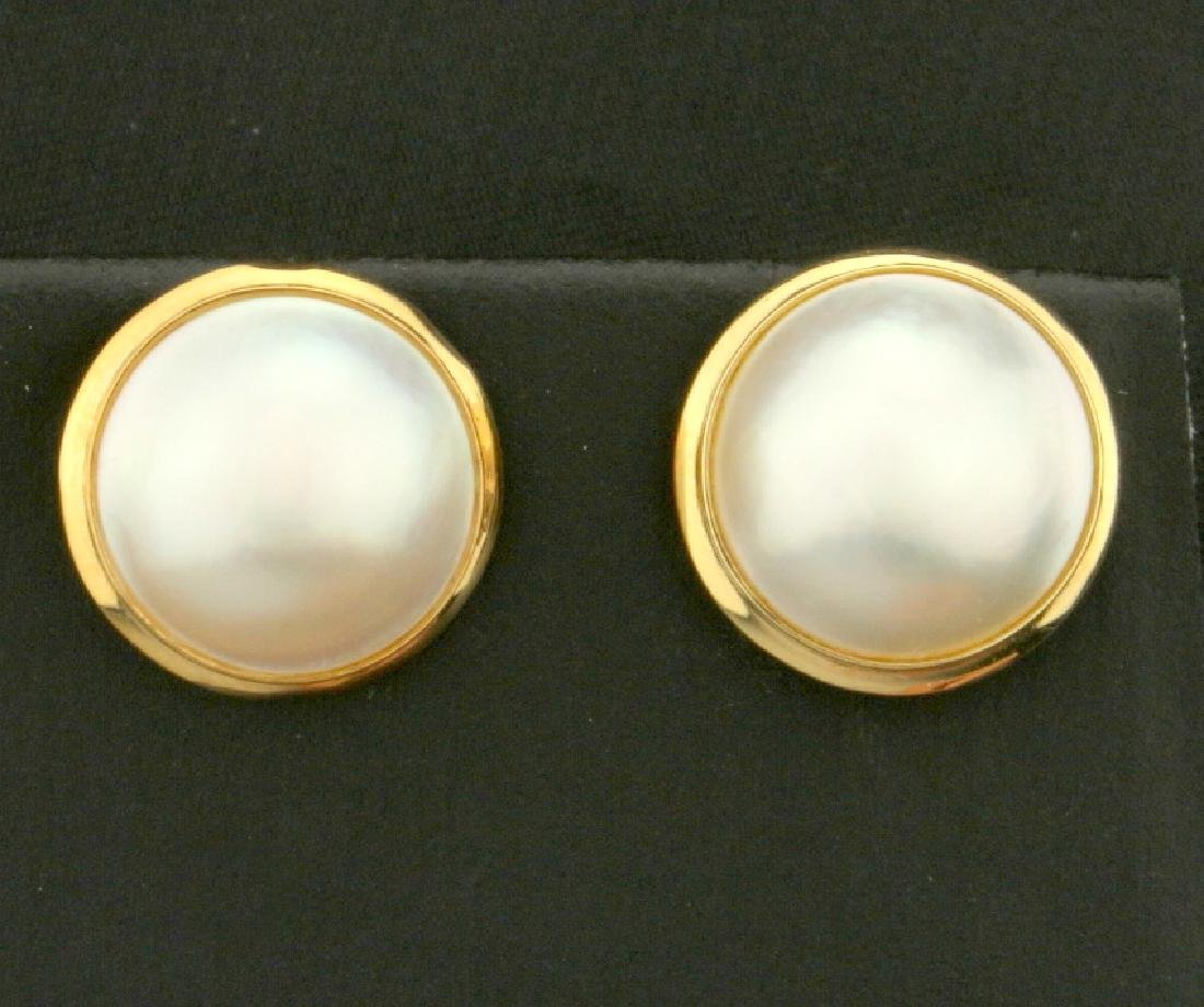 13mm Mabe Pearl Earrings in 14K Yellow Gold