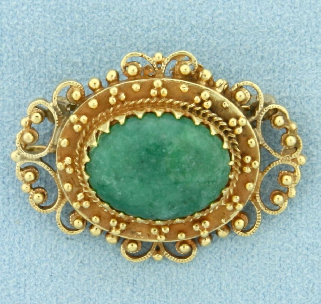 Antique Jade Pendant or Pin in 14K Yellow Gold