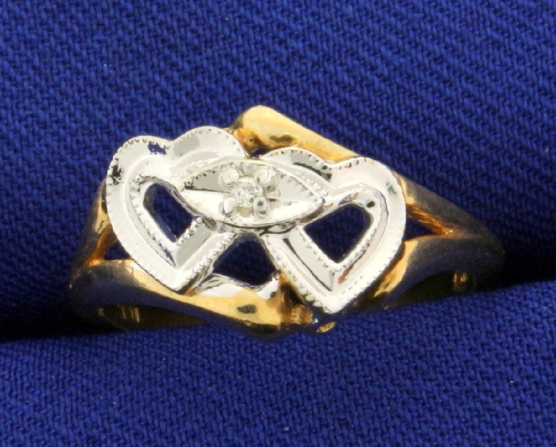 Diamond Double Heart Ring