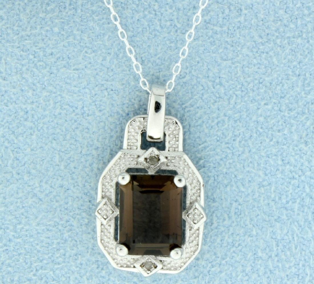Vintage Style Smokey Topaz Pendant with Diamonds and