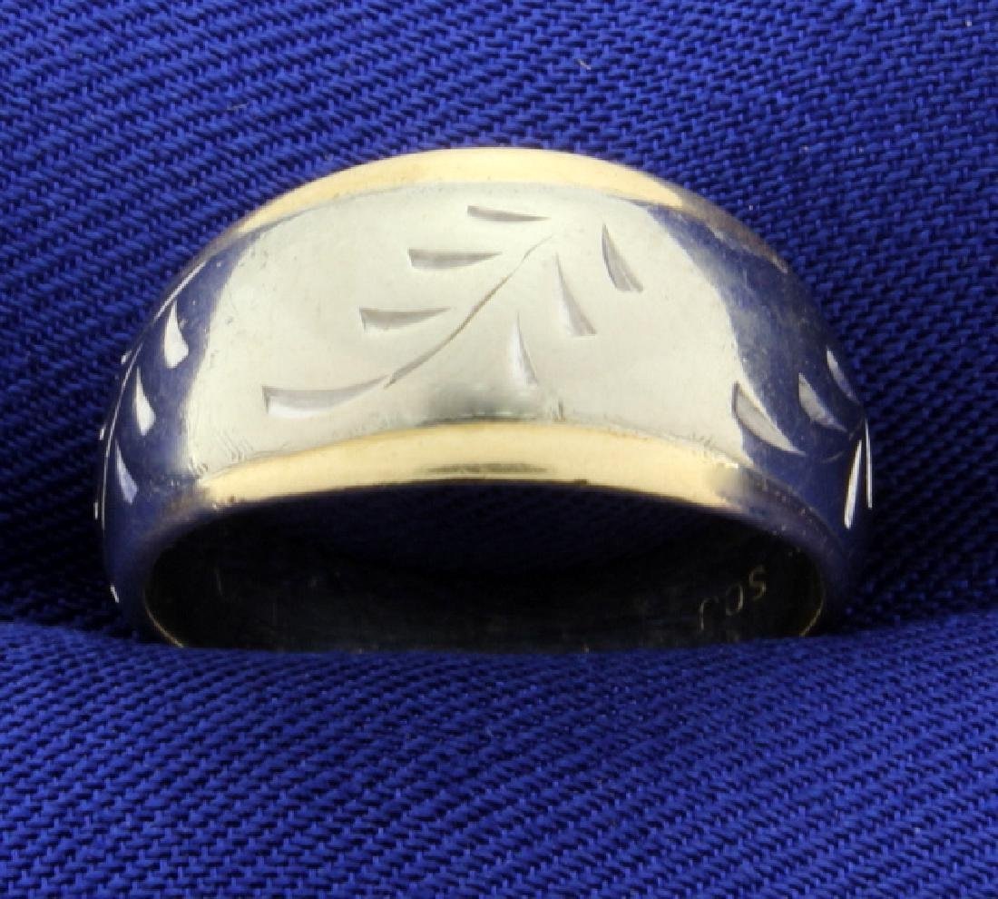 White and Yellow Gold 14k Band Ring with Leaves or