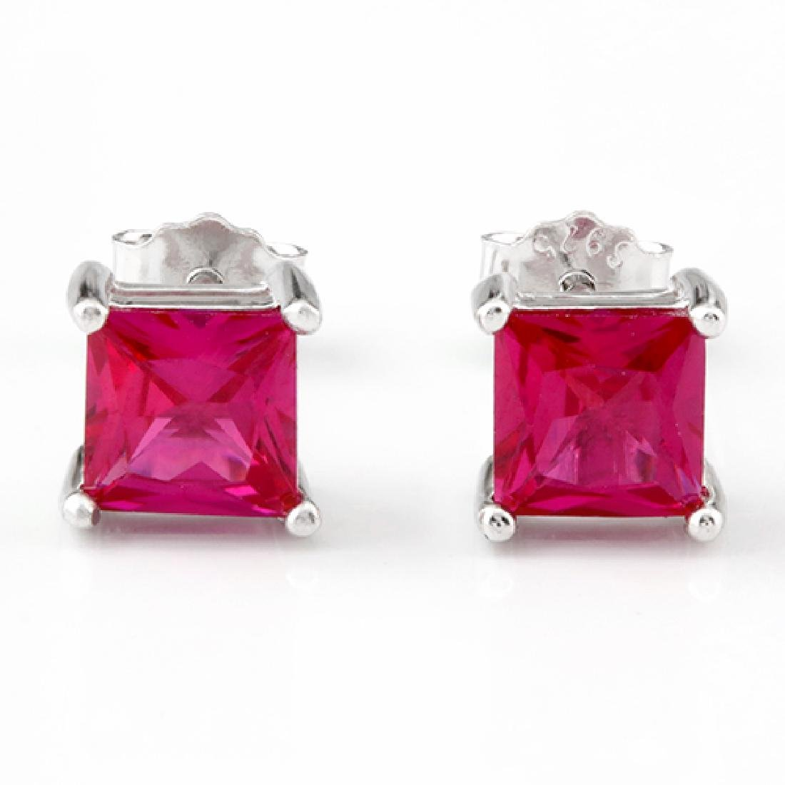 Lab Ruby Princess Cut Square Stud Earrings 5MM in