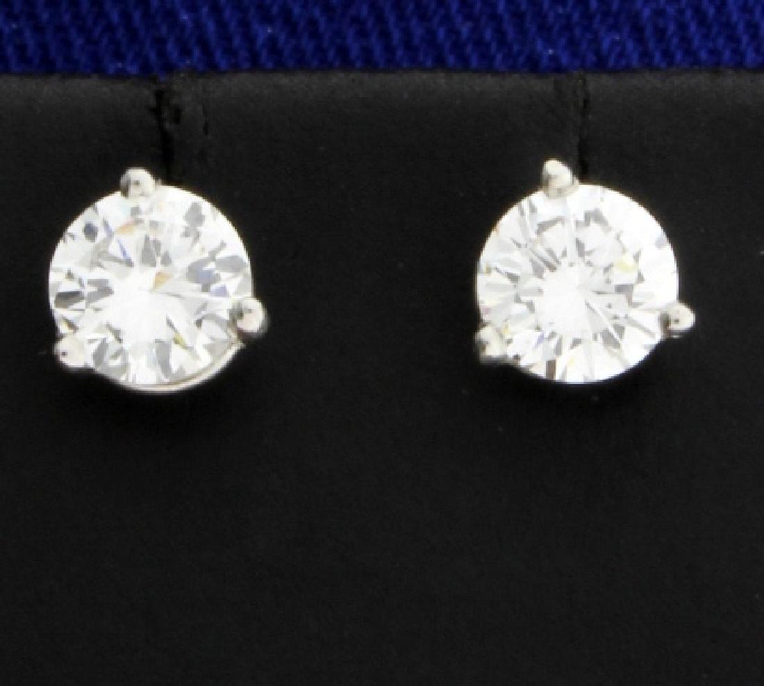 1.1ct TW Diamond Stud Earrings in Platinum