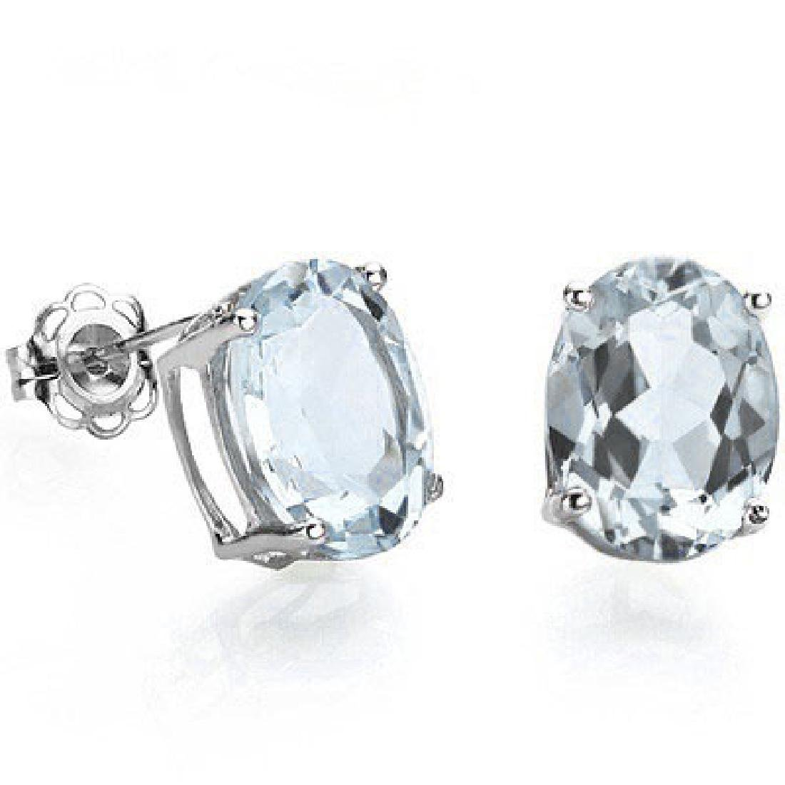 Oval 4x6mm Aquamarine Stud Earrings in Sterling Silver