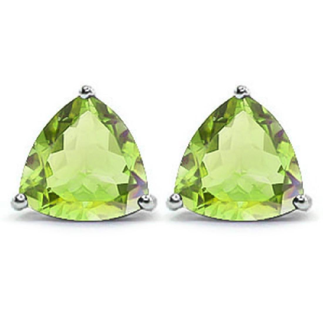 Trillion 1.5 CTW Peridot Stud Earrings in Platinum over