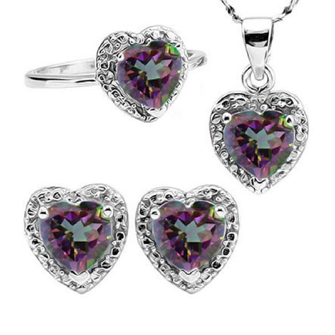 Heart Cut Mystic Topaz and Diamond Ring Earring and