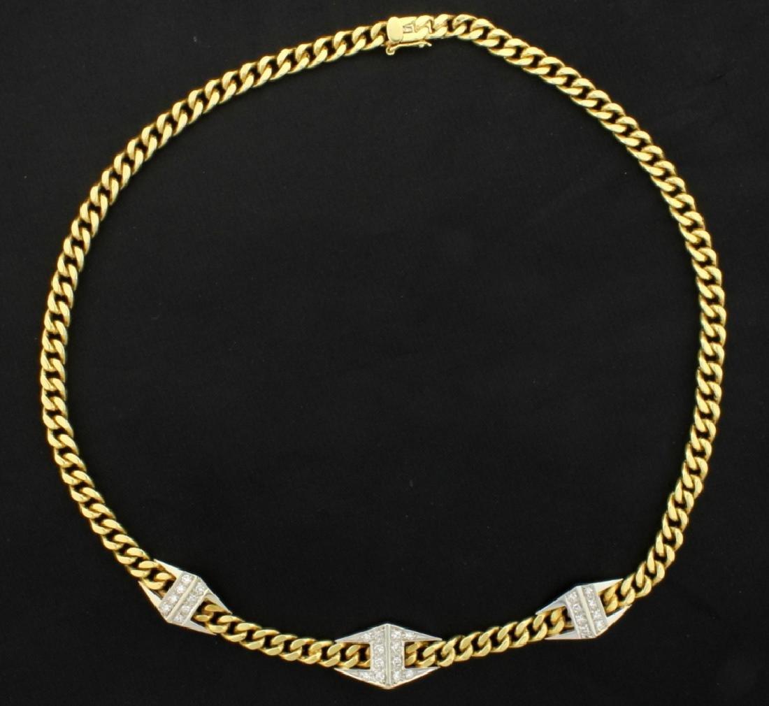 Italian Made 18K 15 1/2 Inch Diamond Link Necklace