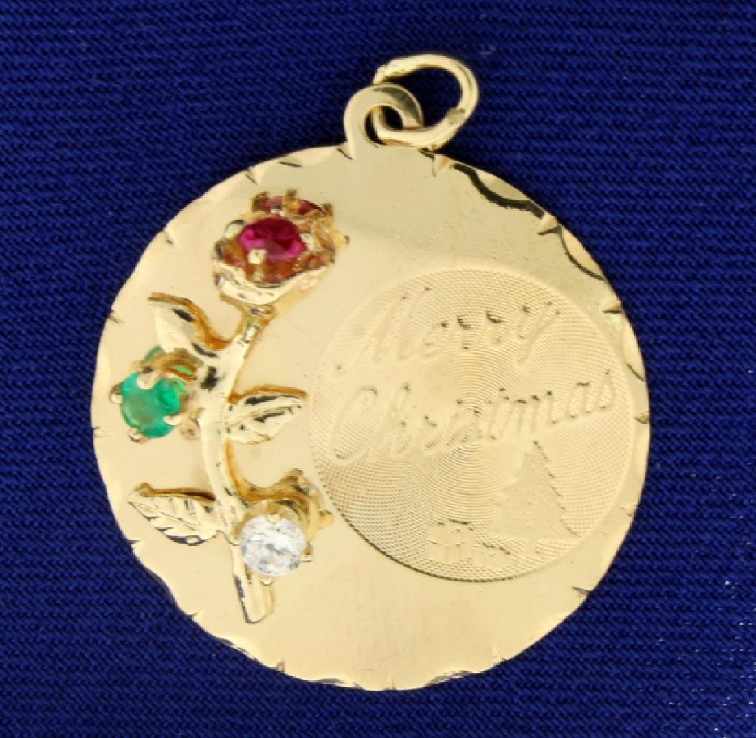 Merry Christmas Charm or Pendant with Ruby, Emerald,