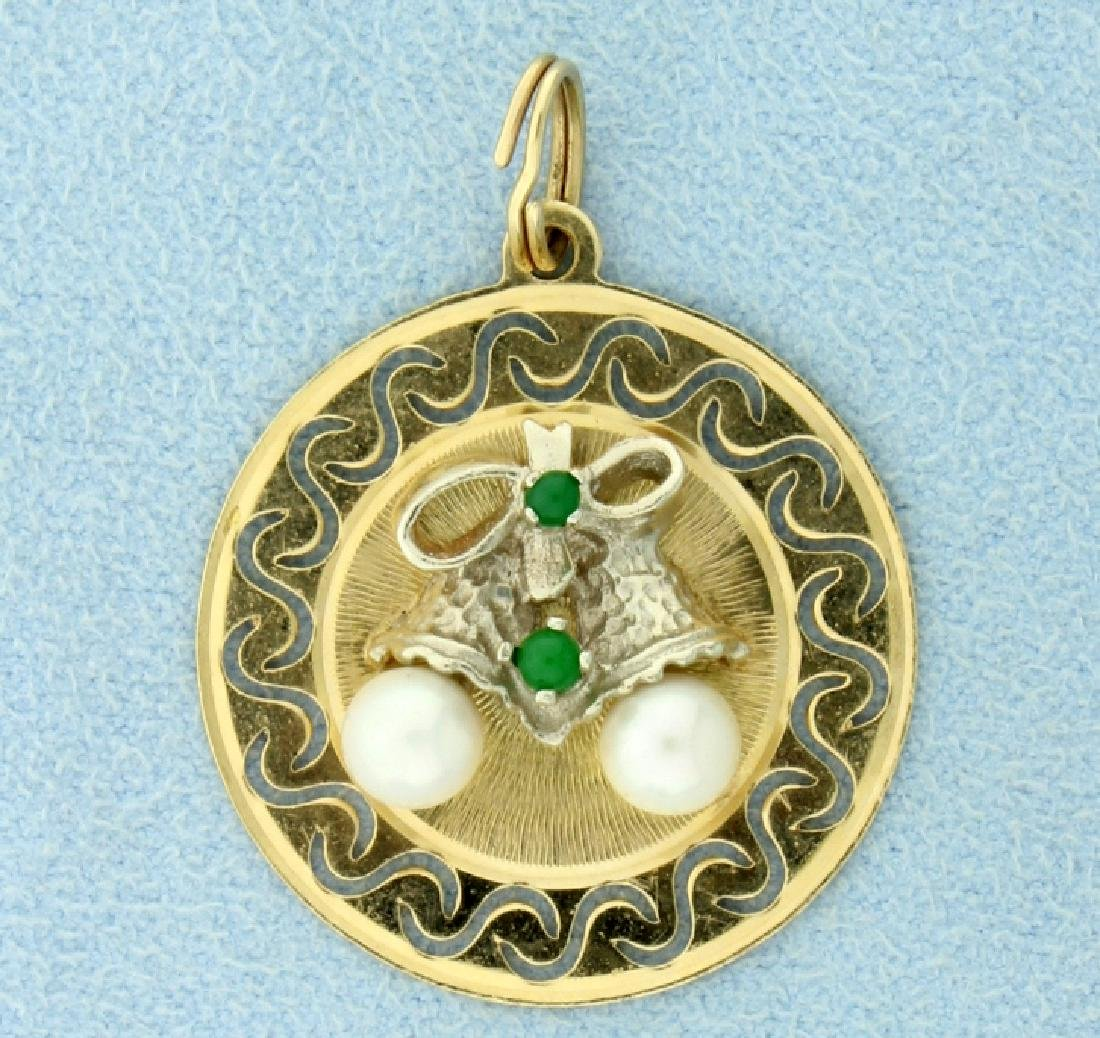Emerald & Pearls Bells Christmas Holiday Pendant
