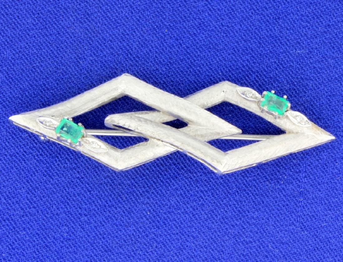 Antique Emerald & Diamond Pin