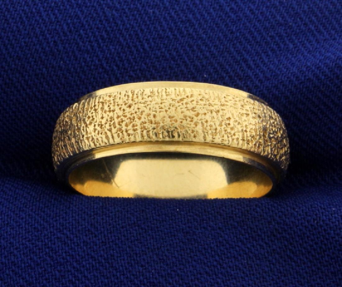 Unique Etched Wedding Band Ring