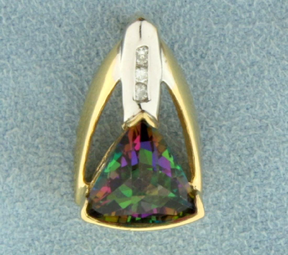 Mystic Topaz and Diamond Pendant