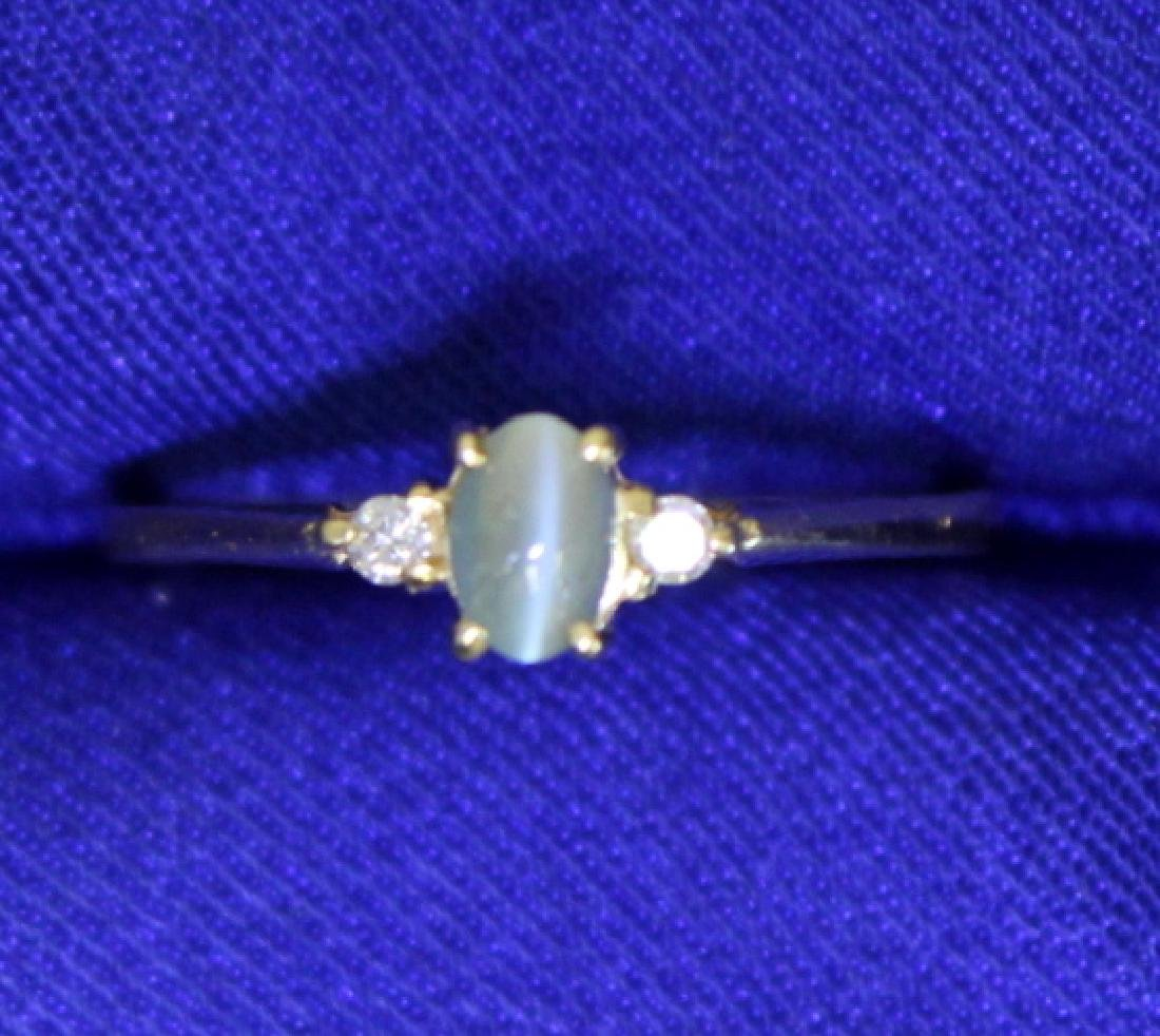 Natural Green Cats Eye Chrysoberyl and Diamond Ring in