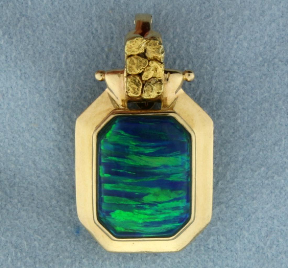 Natural Black Opal Pendant in 14k Gold