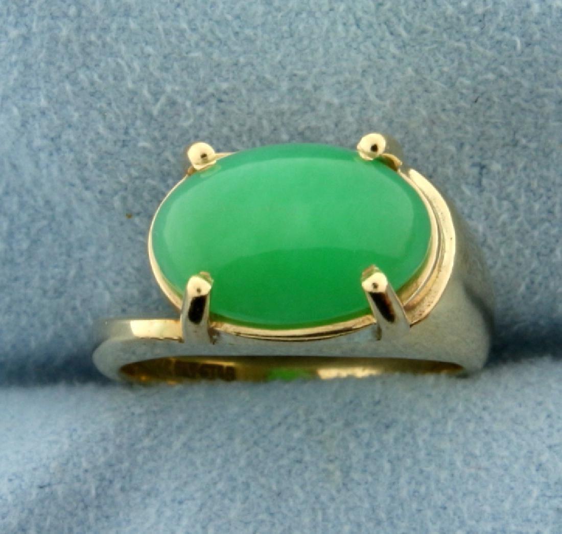 5ct Natural Jade Ring in 14k Gold