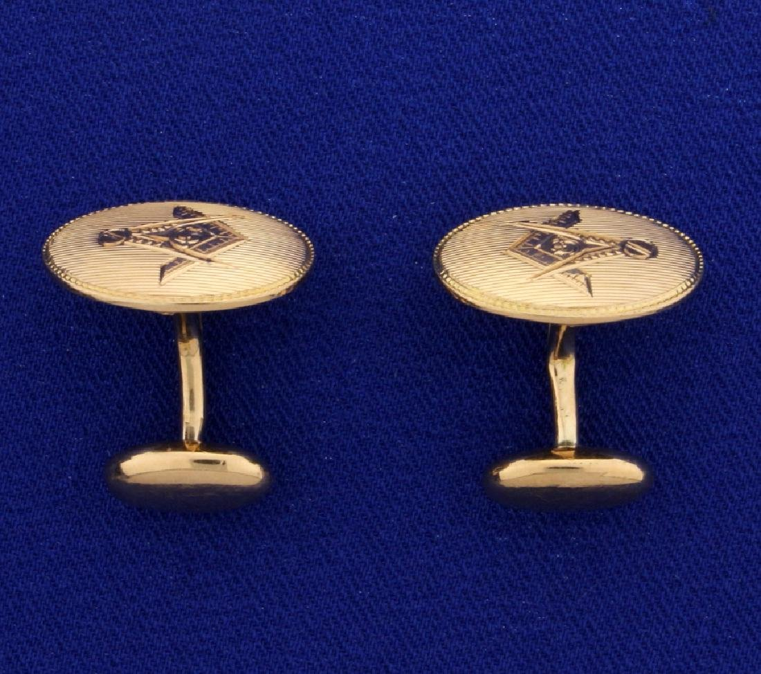 Rose Gold Masonic Cuff Links