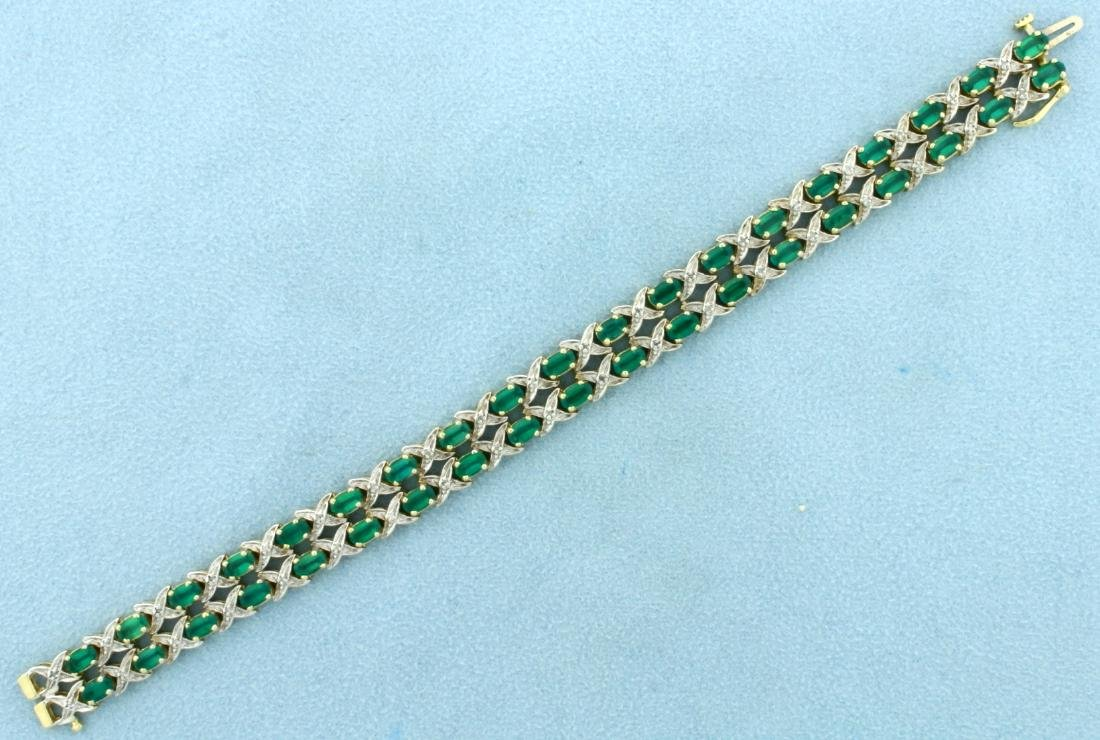 Double Stranded 10 ct TW Tsavorite Garnet and Diamond