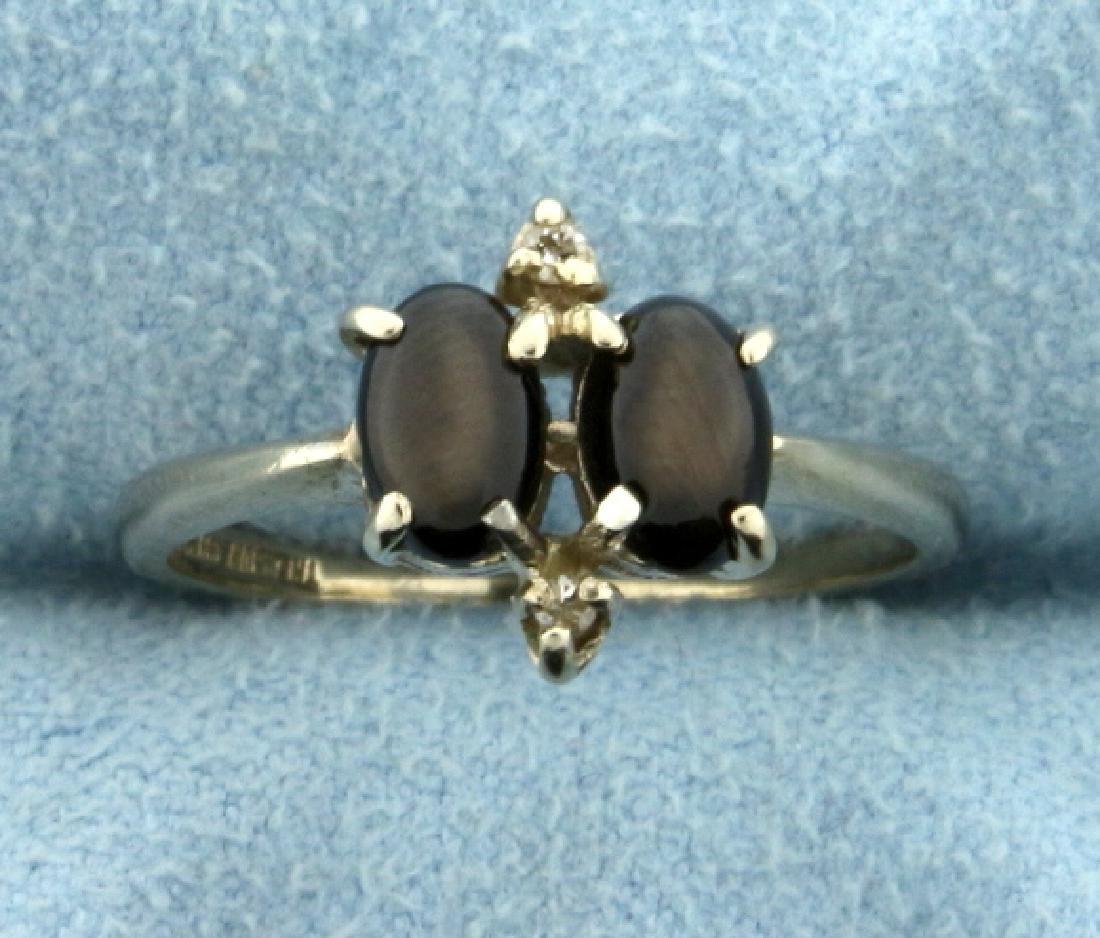 Vintage 1 ct TW Black Star Sapphire Ring in 14K White